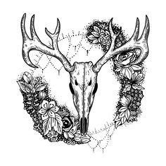 Deer Skull Outline Tattoo Ideas Skulls