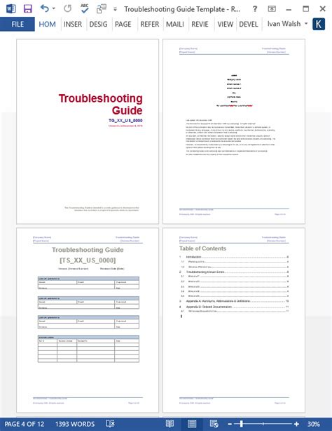 troubleshooting guide template ms word templates