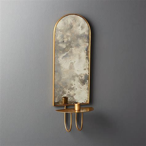 Candle Wall Sconces With Mirror by Edin Antiqued Mirror Taper Candle Wall Sconce Reviews Cb2