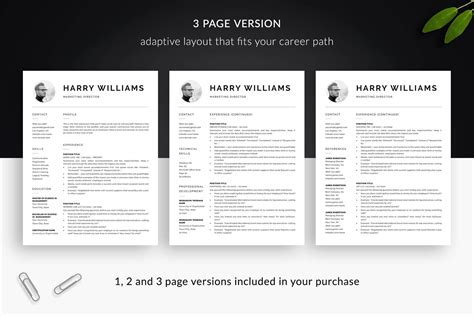 5 Resume Templates by Clean Resume Template Cover Letter Template Quot Harry Quot Bonus