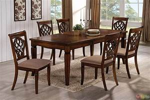 Oak Transitional Style 7 Piece Dining Room Table And