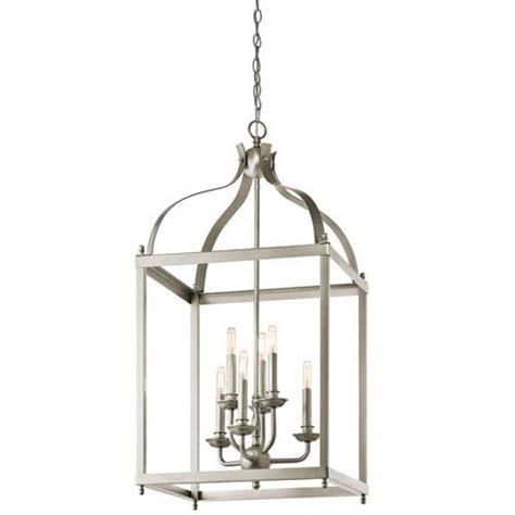 kichler larkin brushed nickel six light cage foyer pendant
