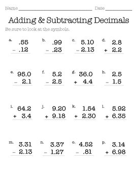 Decimal Addition & Subtraction Ws By Missumukoro Tpt