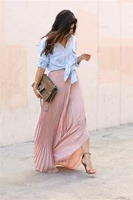 Long Pleated Maxi Skirt Outfits