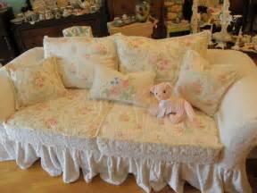 sofa shabby chic custom shabby sofa chic chenille bedspread slipcover white pink roses