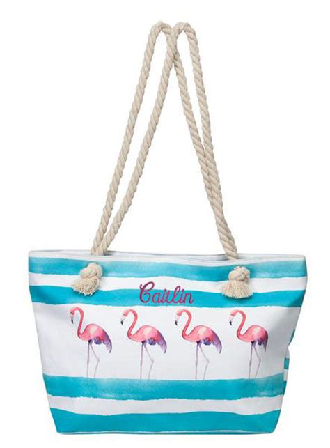 monogram flamingo beach tote bag