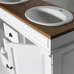 meuble salle de bain bois massif blanc et cire 2 vasques With meuble salle de bain modulable