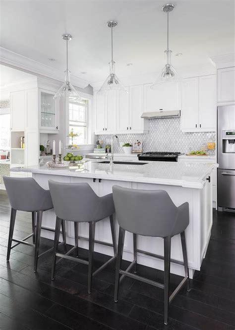 White And Gold Island Light Pendants  Transitional Kitchen