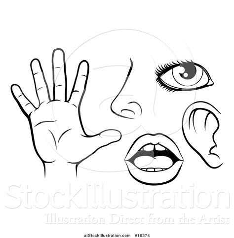 touch clipart black and white vector illustration of black and white icons of the five