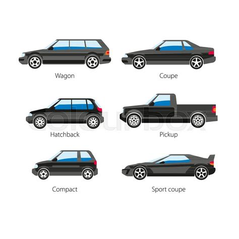 Car Automobile Body Types Set With Names Of Wagon Coupe Or