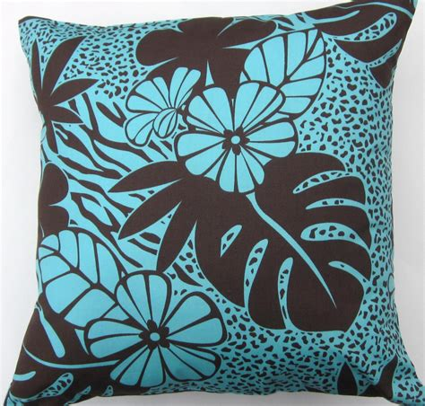 Turquoise Pillow Cover Chocolate Brown And Turquoise