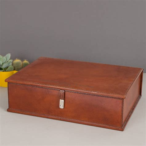 personalised leather document box file  ginger rose