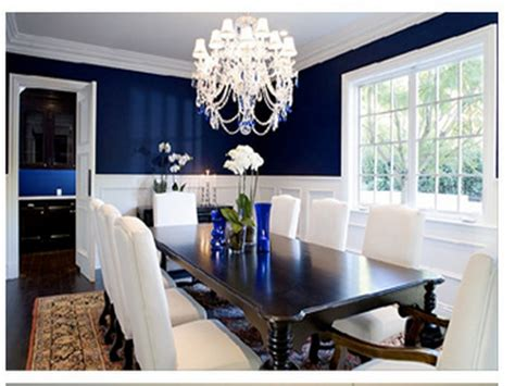 navy dining room navy blue room  chair rail white