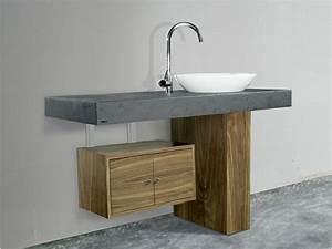 meuble bois sous vasque myqtocom With meuble lavabo bois