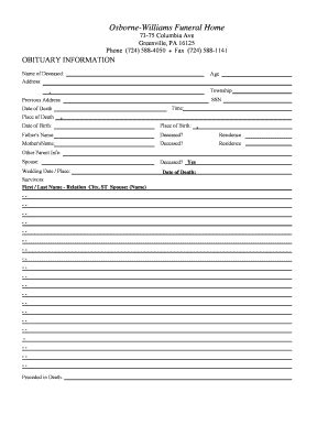 fill in the blank obituary template blank obituary fill printable fillable blank pdffiller