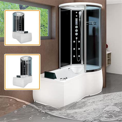 badewanne mit dusche kombiniert acquavapore dtp8055 sw whirlpool badewanne dusche duschkabine 170x98 ebay