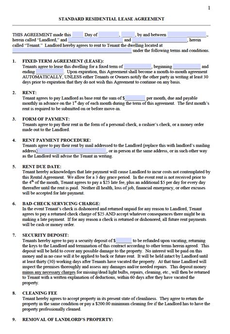 standard residential lease agreement templates