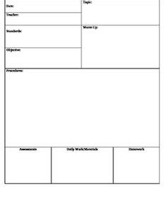 Generic Lesson Plan Template by Common Unit Lesson Plan Template Lesson Depot