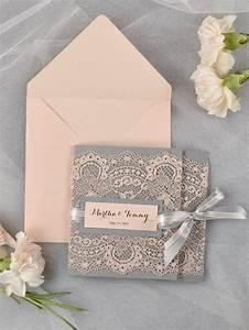 custom listing 100 grey and peach lace wedding With custom pocket wedding invitations online