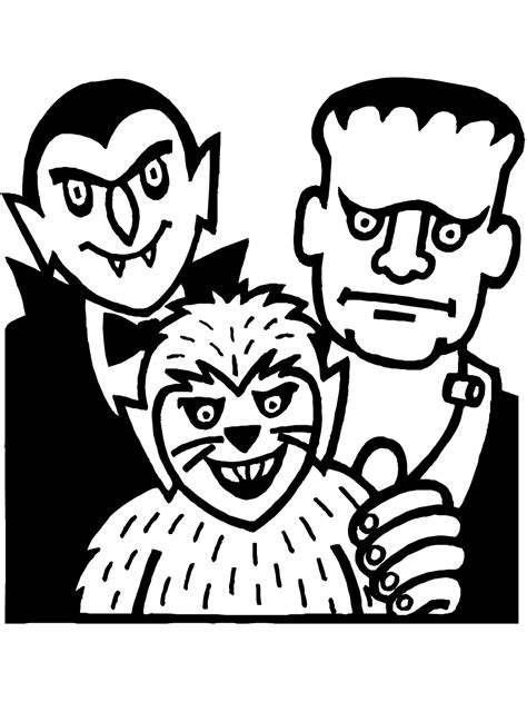 monsters coloring page printable halloween coloring
