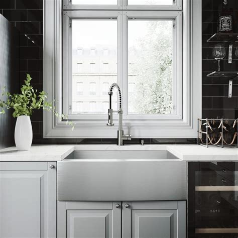 kitchen faucets for farm sinks shop vigo 30 0 in x 22 25 in single basin stainless steel