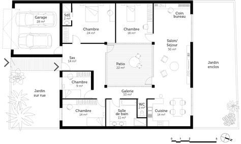 maison moderne plain pied 4 chambres plan maison plain pied 4 chambres en u
