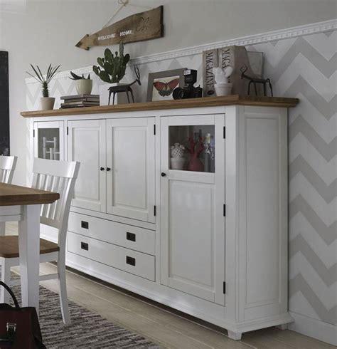 Highboard Wohnzimmermöbel Weiß Wildeiche 4türig Roxanne