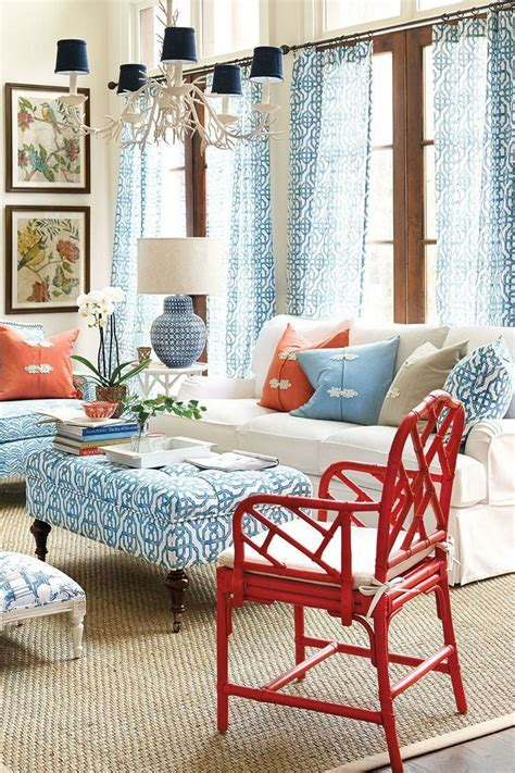 blue table ls for living room red white and blue decor in a coastal living room home