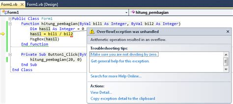Vb Resume After Exception by Mengatasi Error Vb Net Dengan Error Handler Try Catch On Error Resume Next Dan On Error Goto