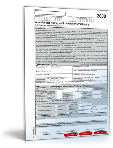 vereinfachter antrag auf lohnsteuerermaessigung