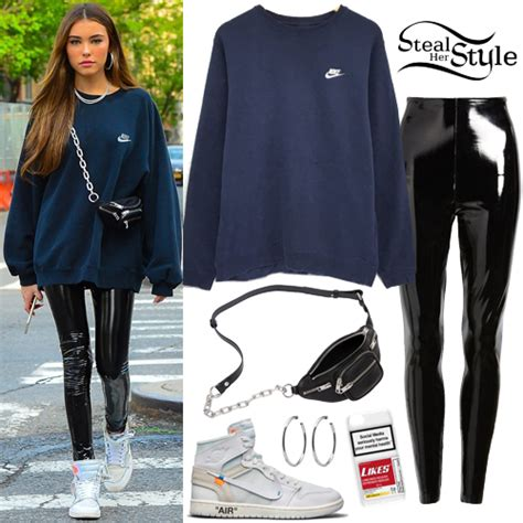 madison beer blue sweatshirt patent leggings steal  style
