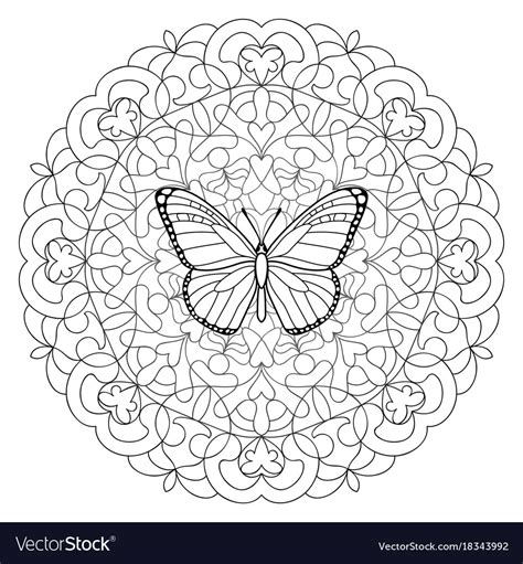 butterfly mandala coloring page royalty  vector image