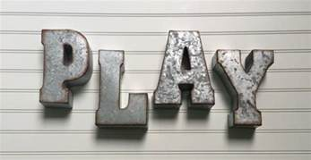 decorative metal letter play wall letter sign signage rustic industrial wall letters