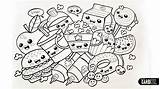 Kawaii Coloring Pages Cute Food Drawings Print Mandala Easy Drawing Chibi Graffiti Japanese Garbi Kw Con Designs Para sketch template