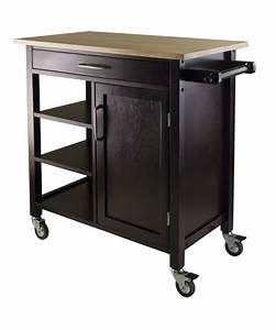 Mali utility kitchen cart island rolling espresso beech for Kitchen utility cart
