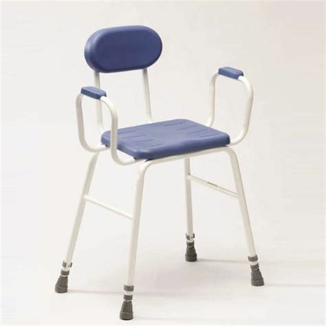 Adjustable Height Pu Perching Stool With Padded Arms And Back