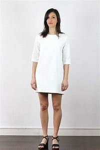 robe blanche manche 3 4 droite en coton atode made in With robe droite manche 3 4