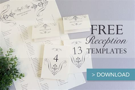 printable wedding reception templates  budget