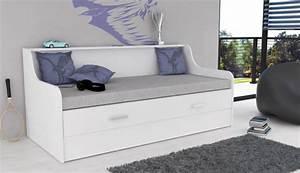 Banquette lit transformable gasper blanc for Suspension chambre enfant avec matelas mousse ou memoire de forme