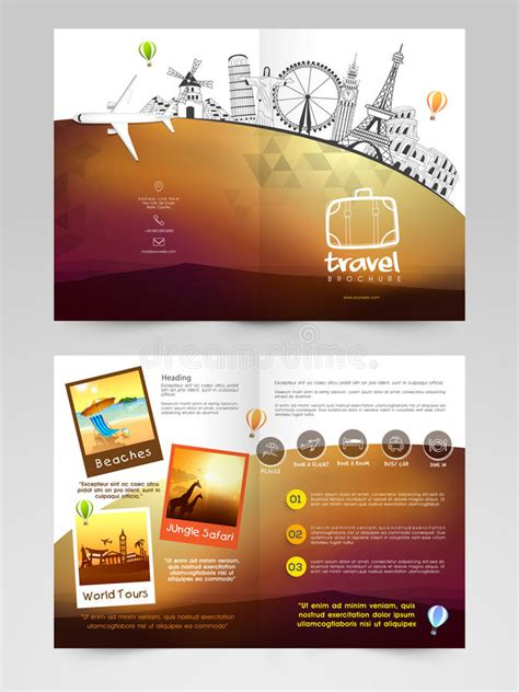 Sle Travel Brochure Template by Travel Brochure Template Or Flyer Design Stock