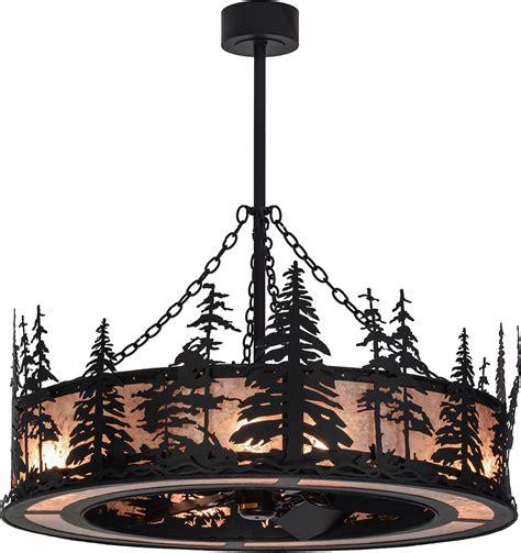 meyda tiffany ceiling fans meyda tiffany 154987 tall pines rustic black silver mica