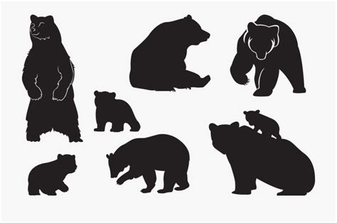 bear cub animal silhouette family breeding baby