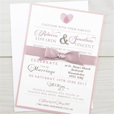 thumb print parcel wedding invitation pure invitation