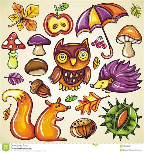 clipart autunno insieme d autunno illustrazione vettoriale illustrazione