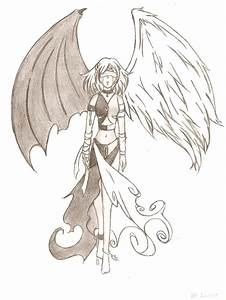 Drawn angel demon anime - Pencil and in color drawn angel ...