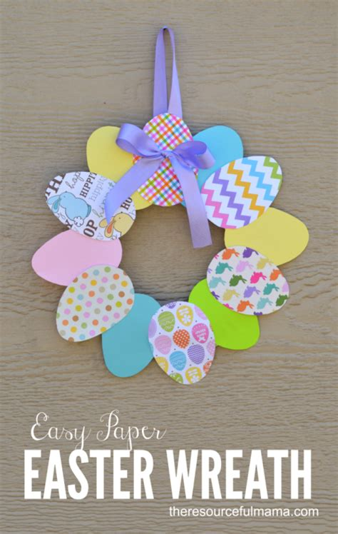 easy paper easter wreath  resourceful mama easter