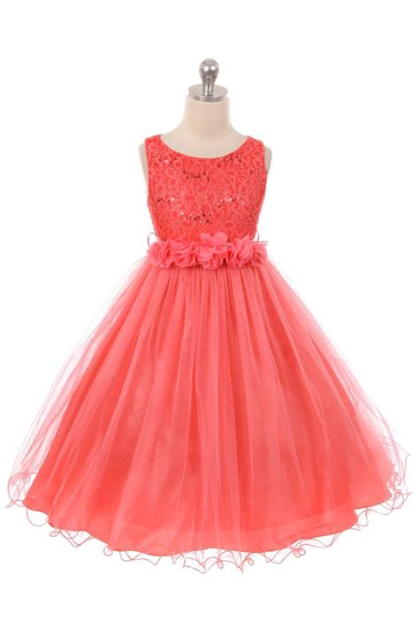 coral sleeveless shiny tulle flower girls dress