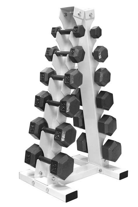 dumbbell set with rack 5lb 30lb hex dumbbell set w vertical dumbbell rack