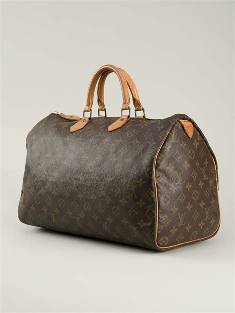 louis vuitton monogram speedy  bag  brown lyst