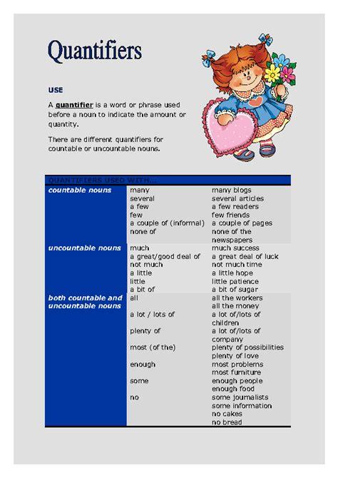 quantifiers intermediate worksheet